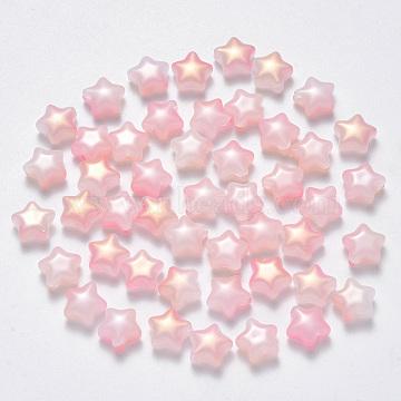 Imitation Jade Glass Beads, Two Tone, with Glitter Powder, Star, Pink, 8x8.5x4mm, Hole: 1mm(X-GLAA-R211-04-B03)