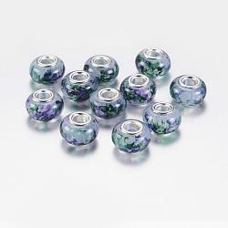 Perles européennes rondes avec grand trou en résine, avec des noyaux de laiton de ton argent, darkcyan, 14x9mm, Trou: 5mm(RPDL-P003-B003)