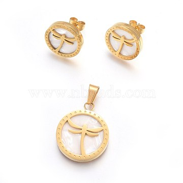 304 Stainless Steel Jewelry Sets, Pendant and Stud Earrings, with Shell, Flat Round with Dragonfly, Golden, 24x20x3mm, Hole: 4x5mm; 15mm; Pin: 0.8mm(SJEW-F186-05G)