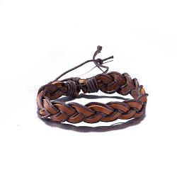Bracelets réglables en cuir tressées unisexes occasionnels, Sienna, 300mm(BJEW-BB15584)