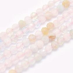 """Chapelets de perles en morganite naturelle, rond, facette, 2mm, trou: 0.5mm; environ 174 pcs/chapelet, 15.5"""" (39.5 cm)(G-O166-25-2mm)"""