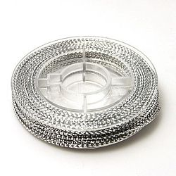 Braided Non-Elastic Beading Cord Wire, Silver, 0.6mm, about 10.93 yards(10m)/roll(EW-N001-01)