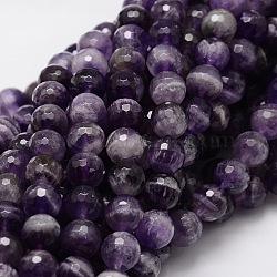 """Facettes brins ronds de perles d'améthyste naturelle, 8mm, trou: 1mm; environ 50 pcs/chapelet, 15.3""""(G-L437-22-8mm)"""