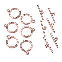 Fermoirs T de style tibétain , anneau, Sans cadmium & sans nickel & sans plomb, or rose, anneau: 15x2 mm, trou: 2 mm; bar: 21 mm, Trou: 2mm(X-TIBE-A12208-RG-NR)