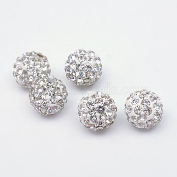 Perles en strass pavé d'argile polymère, perles de boule de disco, cristal, 12mm, Trou: 1.5mm(X-RB-Q197-12mm-01)