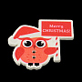 кнопки для отдыха, Две отверстия печатных деревянных кнопок, сова и слово с рождеством, коралловый, 35x38.5x2 mm, отверстия: 2 mm