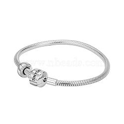 Tinysand® argent sterling tinysand bouchon bracelets européens, argenterie, 190mm; taille d'emballage: 11x11.4x2.3cm(TS-BS001-S-19)