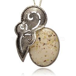 Résine d'alliage d'argent antique ovales grands pendentifs, accessoires de pendentif collier vintage, blé, 65.5x47x11mm, Trou: 6x8mm(TIBE-M001-122A)