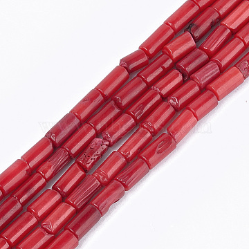 Sea Bamboo Coral(Imitation Coral) Beads Strands, Dyed, Column, FireBrick, 6~8x4mm, Hole: 0.6mm; about 48~53pcs/strand, 14.7 inches~16.1 inches(X-CORA-T009-11B)