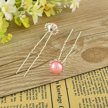 Lady's Hair Accessories Silver Color Plated Iron Rhinestone Ball Hair Forks, with ABS Imitation Pearl Beads, Pink, 77mm; 20pcs/box(PHAR-S192-02)
