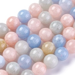 природные морганит нитей бисера, окрашенный, вокруг, 8 mm, отверстия: 1.2 mm; о 47 шт / прядь, 14.7~14.9 (37.5~38 см)(G-G777-B)