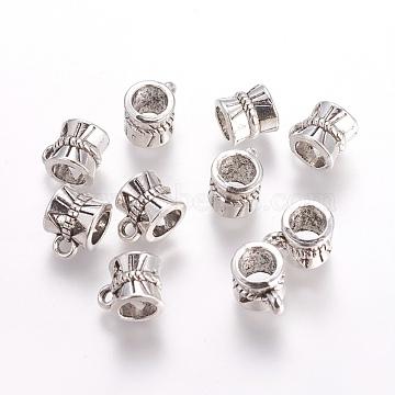 Antique Silver Bail Beads, Tibetan Style Alloy Hanger Links, Lead Free & Nickel Free & Cadmium Free, Barrel, 10x7x7mm, Hole: 1mm, inner diameter: 4mm(X-TIBEB-30047-AS-FF)