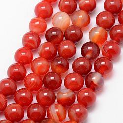 Natural Striped Agate/Banded Agate Bead Strands, Round, Grade A, Dyed & Heated, OrangeRed, 8mm, Hole: 1mm; about 47pcs/strand, 15inches