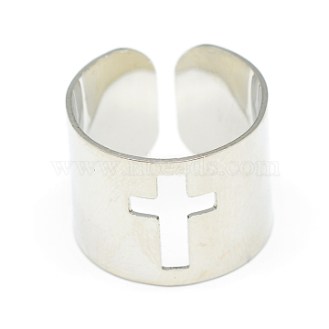 Adjustable Stainless Steel Cuff Finger Rings, Wide Band Rings, Cross, Size 7, Stainless Steel Color, 17mm(X-RJEW-S038-048)