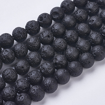 Natural Lava Rock Beads Strands, Dyed, Round, 8~8.5mm, Hole: 1mm; about 47pcs/strand, 15.1 inches(38.5cm)(G-J346-37-8mm)