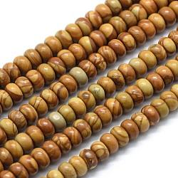 """Chapelets de perles en pierre en bois naturel, rondelle, 6x4mm, trou: 1mm; environ 96 pcs/chapelet, 15.94"""" (40.5 cm)(G-E507-04A-6mm)"""
