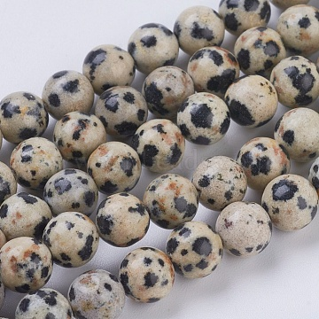 Natural Dalmation Jasper Beads Strands, Round, 6mm, Hole: 1mm; about 29pcs/strand, 7.6inches(X-G-G515-6mm-06)