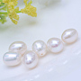 Natural Cultured Freshwater Pearl Beads, Half Drilled Beads, Rice, White, 8~9mm, Half Hole: 0.8mm