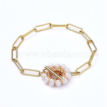 Brass Paperclip Chain Bracelets, with Natural Pearl Beads and 304 Stainless Steel Toggle ClaspsPlated, Golden, 7-5/8 inches(19.4cm)(BJEW-JB05190)