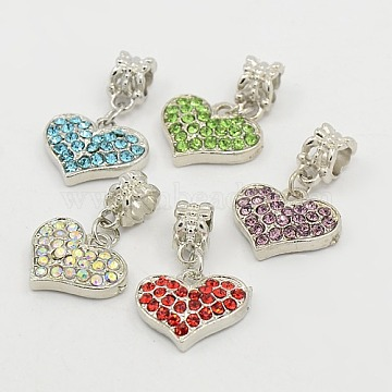 Unique Valentines Day Ideas European Heart Dangle Beads, with Platinum Alloy Rhinestone Findings, Mixed Color, 15.5x18x4mm, Hole: 4.5mm(X-GPDL-C003-P)