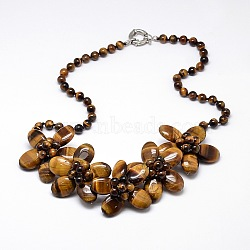 Flower Tiger Eye Bib Statement Necklaces, with Brass Spring Ring Clasps, 18.5inches(NJEW-N0014-24A)