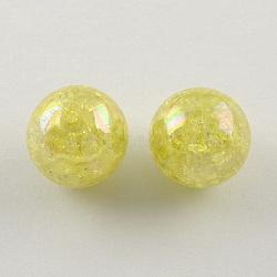Couleur ab crépitement transparente acrylique perles rondes, jaune de champagne, 20mm, trou: 2.5 mm; environ 108 pcs / 500 g(CACR-S006-07)