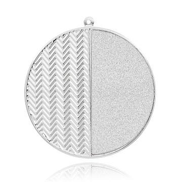 Flat Round Platinum Plated Iron Big Pendants, with Glitter, White, 52x48x0.6mm, Hole: 1mm(IFIN-J049-03P)