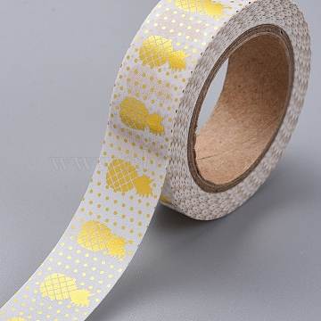 Foil Masking Tapes, DIY Scrapbook Decorative Adhesive Tapes, for Craft and Gifts, Pineapple, Gold, 15mm, 10m/roll(DIY-G016-D09)