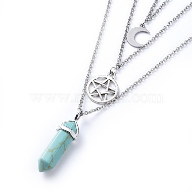 Bullet Synthetic Turquoise Pendant Tiered Necklaces(NJEW-JN02457-06)-3