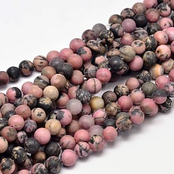 "Rhodonite naturel dépoli brins de perles rondes, 6mm, trou: 1mm; environ 63 pcs/chapelet, 15""(G-F266-13-6mm)"