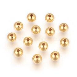 Perles 925 en argent sterling, rond, or, 3mm, Trou: 1.2mm(STER-P405-10G-3x1.2)