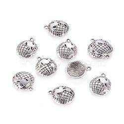 Demi-globe pendentifs de style tibétain, Sans cadmium & sans nickel & sans plomb, argent antique, 16x13x3mm, Trou: 1.5mm(X-TIBEP-A5395-AS-NR)