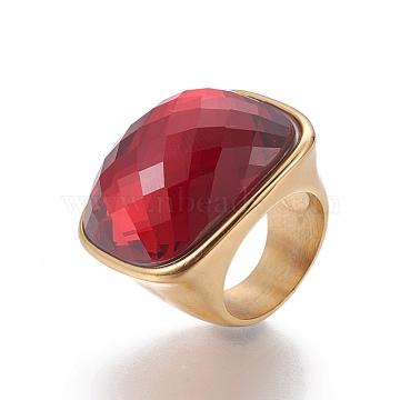 Red Stainless Steel+Glass Finger Rings