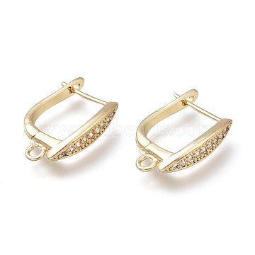 Brass Hoop Earring Findings, Long-Lasting Plated, with Micro Pave Clear Cubic Zirconia, Real 14K Gold Plated, 17.5x11.7x3.5mm, Hole: 1.8mm, Pin: 0.7mm(KK-H102-02G)
