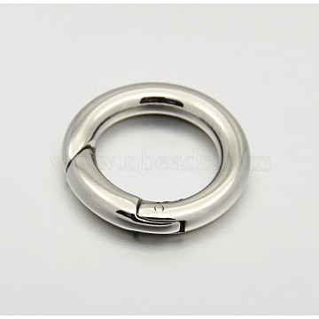 Ring Smooth 304 Stainless Steel Spring Gate Rings, O Rings, Snap Clasps, Stainless Steel Color, 9 Gauge, 17x3mm(X-STAS-E073-06-B)