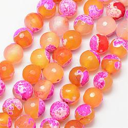 Natural Fire Agate Bead Strands, Round, Grade A, Faceted, Dyed & Heated, Gold, 10mm, Hole: 1mm; about 37pcs/strand, 15inches