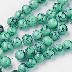 Spray Painted Glass Beads Strands, Round, Sea Green, 4mm, Hole: 1.1~1.3mm, about 200pcs/strand, 31.4 inches(X-GLAD-S075-4mm-32)