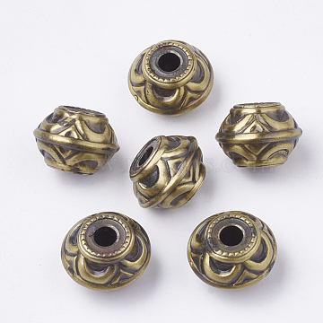 CCB Plastic European Beads, Drawbench, Large Hole Beads, Rondelle, Antique Bronze, 21x15mm, Hole: 5mm(X-CCB-T005-01)