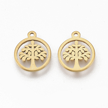 304 Stainless Steel Charms, Flat Round with Tree of Life, Golden, 12x10x1mm, Hole: 1mm(X-STAS-T050-020G)