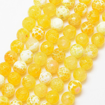 6mm Yellow Round Fire Agate Beads