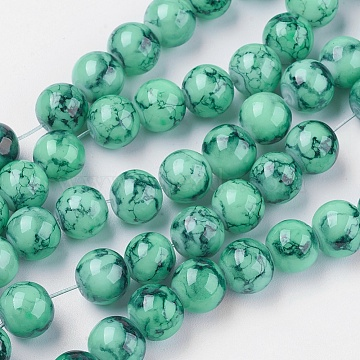 Spray Painted Glass Beads Strands, Round, Sea Green, 4mm; Hole: 1.1~1.3mm; about 200pcs/strand, 31.4inches(X-GLAD-S075-4mm-32)