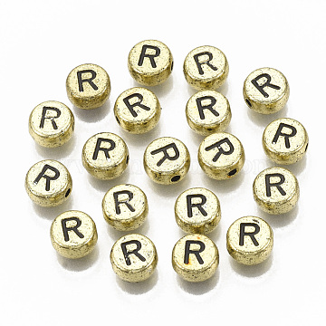 Plating Acrylic Beads, Flat Round with Letter, Golden Plated, Black, Letter.R, 7x4mm, Hole: 1.2mm(X-PACR-CD0001-R)