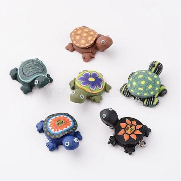 Handmade Polymer Clay Pendants, Tortoises, Mixed Color, 19x26mm, Hole: 2mm(F015H081)