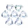 Transparent Resin Finger Rings, AB Color Plated, Triangle, Light Sky Blue, Inner Diameter: 11mm