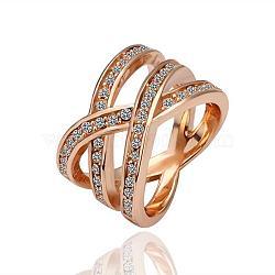 Véritable alliage d'étain plaqué or rose strass tchèque anneaux creux à large bande pour femmes, taille 6, 16.5 mm(RJEW-BB09730-6RG)