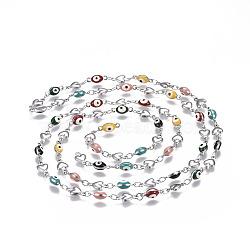 304 chaînes en acier inoxydable émaillé, soudé, mauvais oeil coeur et ovale, couleur inoxydable, colorées, 10x5.5x2mm(CHS-P006-01P-02)
