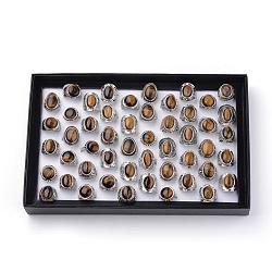 Cernes tigre naturelles, avec les accessoires en alliage, taille mixte, forme mixte, argent antique, 17~20 mm; 50 pcs / boîte(G-S242-10-B)