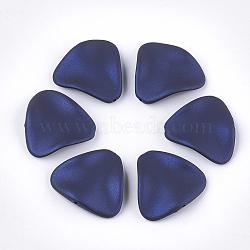 perles acryliques de style caoutchoutées, vague, triangle, darkblue, 24x26x5.5 mm, trou: 1.5 mm(MACR-T026-18A)