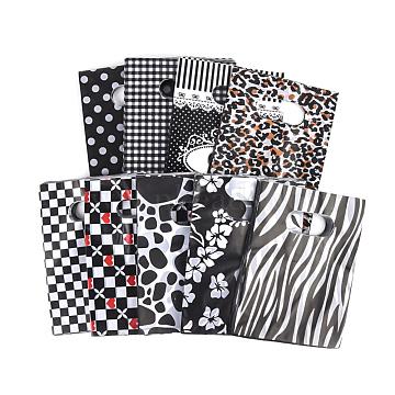 Printed Plastic Bags, Rectangle, Black, 60x50cm(PE-T003-50x60cm-01)