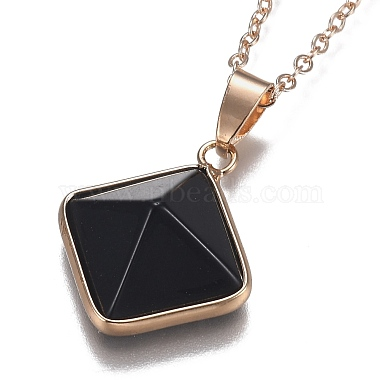 Natural Obsidian Pyramid Geometric Pendant Necklaces(NJEW-H204-01H)-3